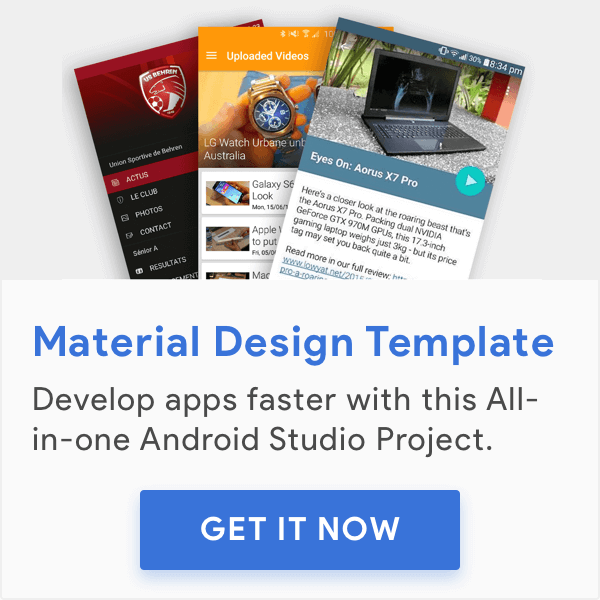 Multi-purpose Material Design template (Project) for Android