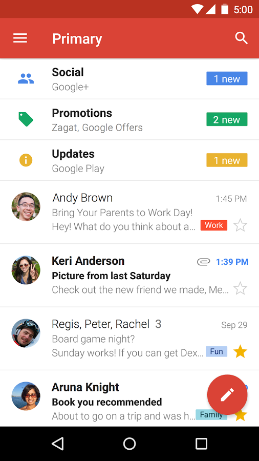 android gmail lollipop material design