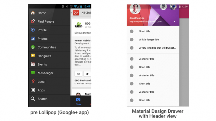 navigation drawer google+ material design