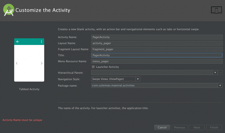 android studio 1.5.1 tabbed activity template